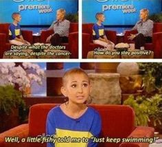 Is that Ellen? Because Ellen voiced Dory from Finding Nemo and this girl is using Dory's quote. Im so happy right now