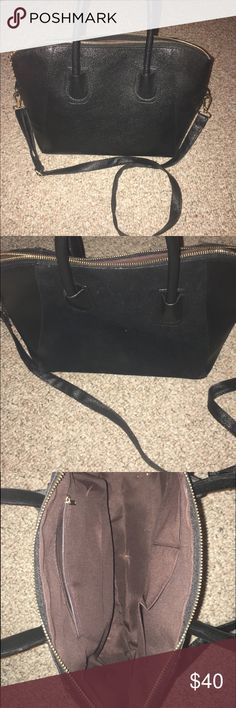 Black Purse!!! Never used/handbag or cross body/pleather and velvet on one side/great size wish app  Bags Crossbody Bags