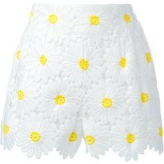Dolce and Gabbana Daisy Applique Shorts featuring polyvore, women's fashion, clothing, shorts, bottoms, pants, kirna zabete, daisy print shorts, scalloped edge shorts, daisy shorts, highwaisted shorts and highwaist shorts