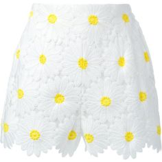Dolce and Gabbana Daisy Applique Shorts featuring polyvore, women's fashion, clothing, shorts, bottoms, pants, kirna zabete, daisy print shorts, scalloped edge shorts, daisy shorts, highwaisted shorts and highwaist shorts