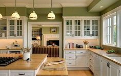 Kitchen idea, love white cabinets with this color green.