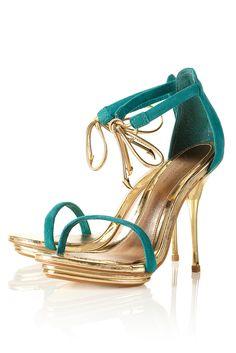 Detalhe imagem -. Verdes e Priti cor do ouro impressionante Salto Alto Mal Designs Sapatos