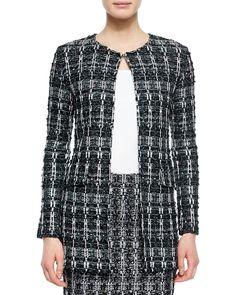 St. John Collection Textured Sparkle Tweed Jacket, Women's, Size: 2, Caviar Multi