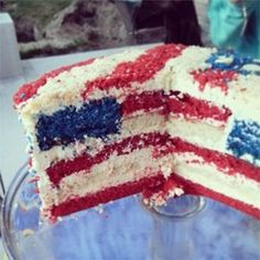 American Flag Cake:  I'd like to decorate with strawberries and blueberries instead of cake crumbs.  Also, adding coconut to the white stripes would add an interesting texture.