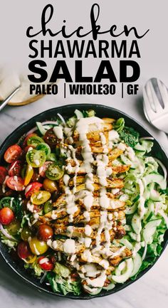 Looking to shake up your paleo dinner routine? Try this lebanese chicken shawarma salad. Mixed greens, fresh herbs, cucumber, tomato, and red onion are topped with slices of crispy oven baked chicken thighs. The marinade is fast, easy, and best of all, 100% make ahead. This is a tried-and-true whole30 recipe you'll turn to again and again! #paleo #chicken #recipes #realfood #wholefood #whole30