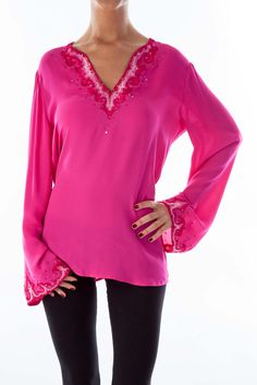 0228e7470f153 Beautiful vibrant blouses for summer pink silk embroidered blouse by Jaeger