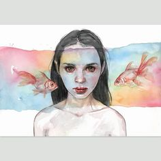 Acrylic and watercolor on paper with few digital adjustments Pen And Watercolor, Watercolor Portraits, Watercolor Paintings, Inspiration Art, Art Inspo, Wallpaper Wall, Art Aquarelle, Arte Sketchbook, Art Hoe