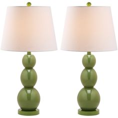 @Overstock - Safavieh Jayne Three Sphere Glass 1-light Green Table Lamps (Set of 2) - Brighten any room with these vibrant green table lamps from Jayne. These lamps feature a modern style that will enhance any contemporary decor. The bodies are made of light green glass spheres, and they feature tapered white linen shades for contrast.  http://www.overstock.com/Home-Garden/Safavieh-Jayne-Three-Sphere-Glass-1-light-Green-Table-Lamps-Set-of-2/7570769/product.html?CID=214117 $190.99