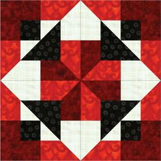 black and white quilt block pattern | ... and Quilts: Black & White & Red All Over - Downloadable Quilt Block