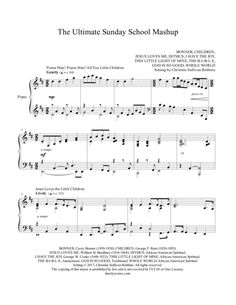 "The Ultimate Sunday School Mashup Piano Sheet Music. Nine popular children's Sunday School songs are all grown up and play nicely together with a grand ""Amen!"" on the end in this sure-to-make-you-smile piano medley."