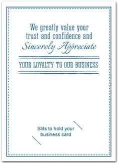 Thank You Cards With Slots For Business Card   Business Greeting Cards
