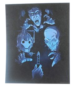 """This Whovian art print will delight any Doctor Who fan! Measuring 8"""" x 10"""", this print sees our heroic Time Lord facing off in the dark with three of his well known adversaries. Sonic Screwdriver to t"""