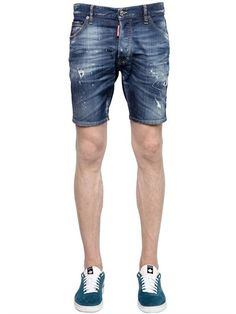 DSQUARED2 Washed Destroyed Stretch Denim Shorts, Blue.  dsquared2  cloth   shorts 83b80b5fbf4