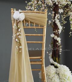 New Spring 2015 - Wedding Chair Decor White Flower Accent - Handmade Fabric Flowers - Chair Sash - Sweatheart table Wedding Chair Sashes, Wedding Chair Decorations, Wedding Chairs, Wedding Themes, Wedding Centerpieces, Wedding Designs, Wedding Table, Wedding Chair Covers, Wedding Ideas