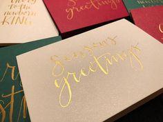 Season's Greetings  Modern Calligraphy Christmas Card