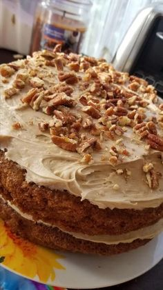 Step 1   Preheat oven to 350 degrees F (175 degrees C). Grease and flour a 9x13 inch pan.  Step 2   In a large bowl, beat together eggs, oil, white sugar and 2 teaspoons vanilla. Mix in flour, baking soda, baking powder, salt and cinnamon. Stir in carrots. Fold in pecans. Pour into prepared pan.  Step 3   Bake in the preheated oven for 40 to 50 minutes, or until a toothpick inserted into the center of the cake comes out clean. Let cool in pan for 10 minutes, then turn out onto a wire rack… Best Cake Recipes, Healthy Recipes, How To Make Frosting, 350 Degrees, Chicken Tikka, Large Bowl, Carrot Cake, Grease