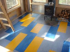 I love these brightly colored marmoleum floors