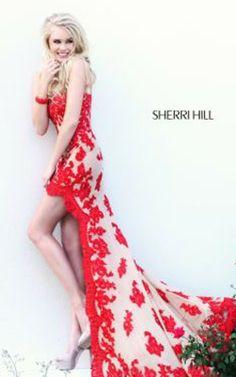 Red prom dresses sherri hill floral