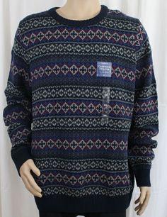 Navy Crewneck Men's Geometric Pattern Sweater Croft & Barrow 2XL #CroftBarrow #Crewneck