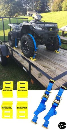 This tie-down kit secures your ATV or other wheeled equipment to your trailer. The ratchet straps have E-track fittings that clip into the E-track anc Trailer Plans, Trailer Build, Quad Trailer, Kayak Trailer, Support Moto, Utv Trailers, Equipment Trailers, Utv Accessories, 3d Modelle