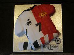 Swansea City/ Manchester United shirt cake