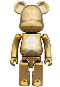 MEDICOM TOY - BE@RBRICK 超合金 mastermind JAPAN 2pack SILVER STRIPE & CHROME GOLD