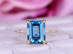 8x10mm Emerald Cut 3.8ct London Blue Topaz Engagement ring/14k Yellow gold diamond band/Halo Stacking/Half Eternity wedding ring/Birthstone by bartUSgem on Etsy https://www.etsy.com/listing/522335483/8x10mm-emerald-cut-38ct-london-blue