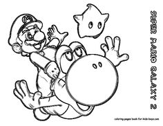 Printables Nintendi Wii Super Mario Galaxy Coloring Pages