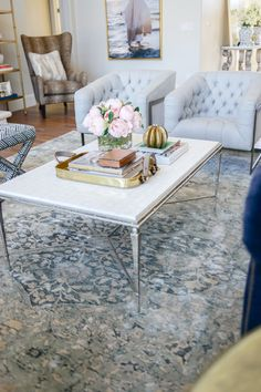 pastel living, coffee table