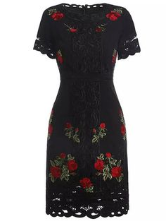 Black Round Neck Short Sleeve Tribal Embroidered Hollow Dress