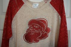Merry Christmas -Santa-  Crochet Black or Red 3/4 sleeve burnout shirt with Rhinestones by BlingU on Etsy