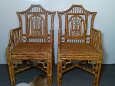 Pair Of Burnt Rattan Chinese Chippendale Arm Chairs With Rattan Rush Seat Pagoda…