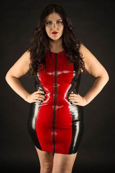 76b8f9787f Plus size latex zip front bodycon dress