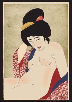Ohira Kasen Twenty-Four Figures of Charming Women: Two, After a Bath (suggested title), woodblock print, ca. Japanese Geisha, Vintage Japanese, Japanese Girl, Japan Illustration, Japanese Poster, Japanese Prints, Japanese Woodcut, Art Asiatique, Exotic Art