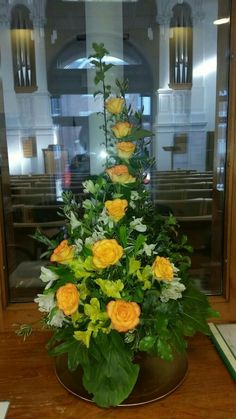 ~ Pin by Karen Lim on floral arrangement Tropical Floral Arrangements, Christmas Flower Arrangements, Church Flower Arrangements, Silk Flower Arrangements, Flower Centerpieces, Flower Decorations, Altar Decorations, Alter Flowers, Church Flowers