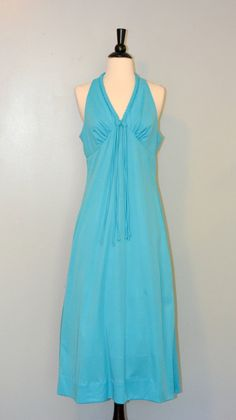 1970s Teal Blue Halter Top Maxi Dress by KrisVintageClothing, $21.99
