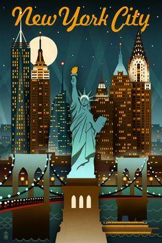 Print (New York City, New York - Retro Skyline - Lantern Press Artwork)