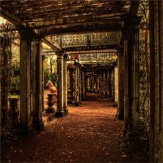 Outdoor corridor, Catherine Park, St. Petersburg, Russia