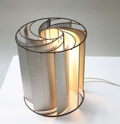Max Sauze; Enameled Metal and Aluminum 'Turbine' Table Lamp, 1970s.