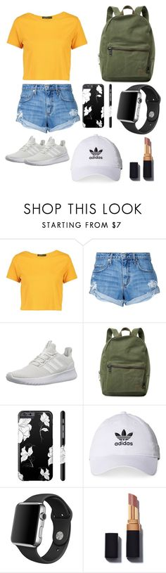 """""""02. Day Out."""" by teyajimays ❤ liked on Polyvore featuring Boohoo, Nobody Denim, adidas NEO, Herschel Supply Co., adidas and Apple"""