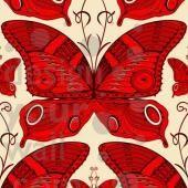 Butterfly custom retro wallpaper: red