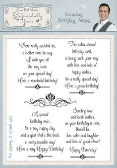 Decadent Damask Birthday Verses - Sentimentally Yours Clear Stamp Set by Phill Martin Birthday Verses For Cards, 50th Birthday Cards, Birthday Card Sayings, Homemade Birthday Cards, Birthday Sentiments, Happy Birthday Quotes, Birthday Messages, Christmas Sentiments, Birthday Wishes