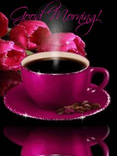 Good morning hot pink coffee and tulips good morning gif, good morning coffee, good Coffee Gif, I Love Coffee, Best Coffee, Coffee Break, My Coffee, Coffee Cups, Tea Cups, Happy Coffee, Coffee Menu