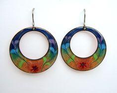 Handmade Rainbow Earrings - enameled copper hoops with millefiori flowers on titainium earring hooks. $24.00, via Etsy.
