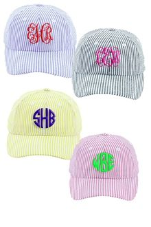A monogramable seersucker hat. Hat can also be embroidered with a state or state outline if you prefer Please just leave specific instructions for what you would like on the hat Please note for filled in states an additional will be added to your order State Outline, Seersucker, Monogram, Chic, My Style, Hats, Pink Yellow, Blue, Women's Swimwear