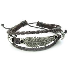 * Penny Deals * - KONOV Mens Womens Leather Bracelet, 7-9 inch Adjustable Feather Bangle, Brown Silver * Check out this great product.