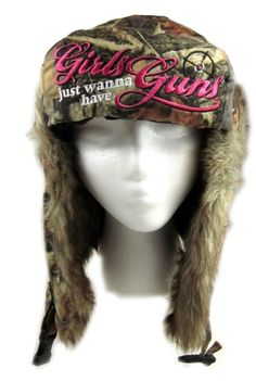 $23.00Amazon.com: Dakota Dan Winter Trooper Hat Camo Girls Just Wanna Have Guns Embroidered Women's Hunting Hat { Got this and I LOVE IT!}