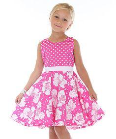 Hot Pink & White Цветочный A-Line платье - Малыш и девушки