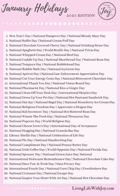 Find joy in living each day to the fullest with this list of fun national holidays and reasons to celebrate every day! List Of National Days, Daily National Holidays, Holidays In January, January 21, Holiday List, Holiday Fun, Fun Calendar Days, National Holiday Calendar, Monthly Celebration