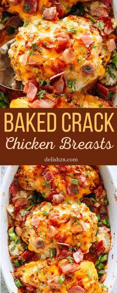 Baked Chicken Breast, Baked Chicken Recipes, Chicken Meals, Stuffed Chicken Breasts, Chicken Breats Recipes, Boneless Chicken Breast, Crack Chicken, Chicken Stuffing, Chicken Casserole